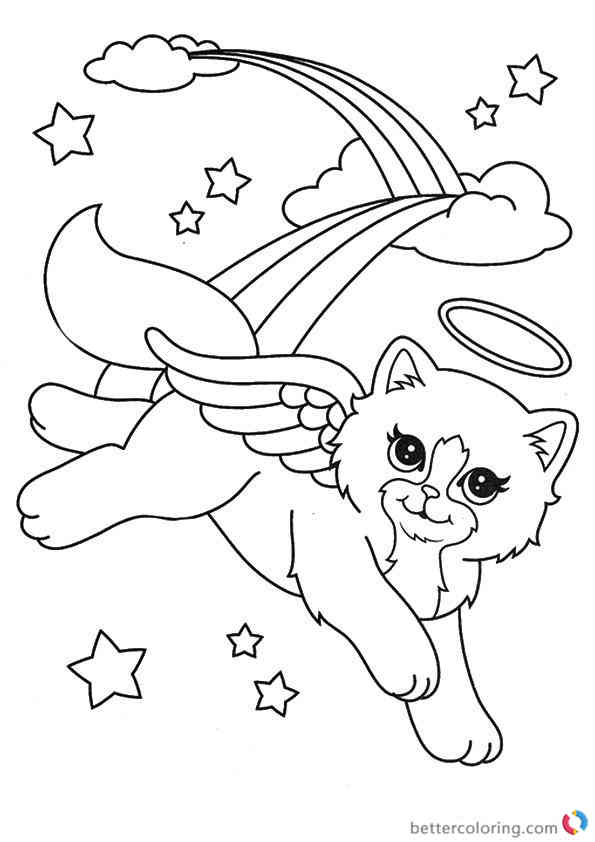angel kitten coloring pages | Lisa Frank coloring pages Beautiful Cat Angel A4 printable ...