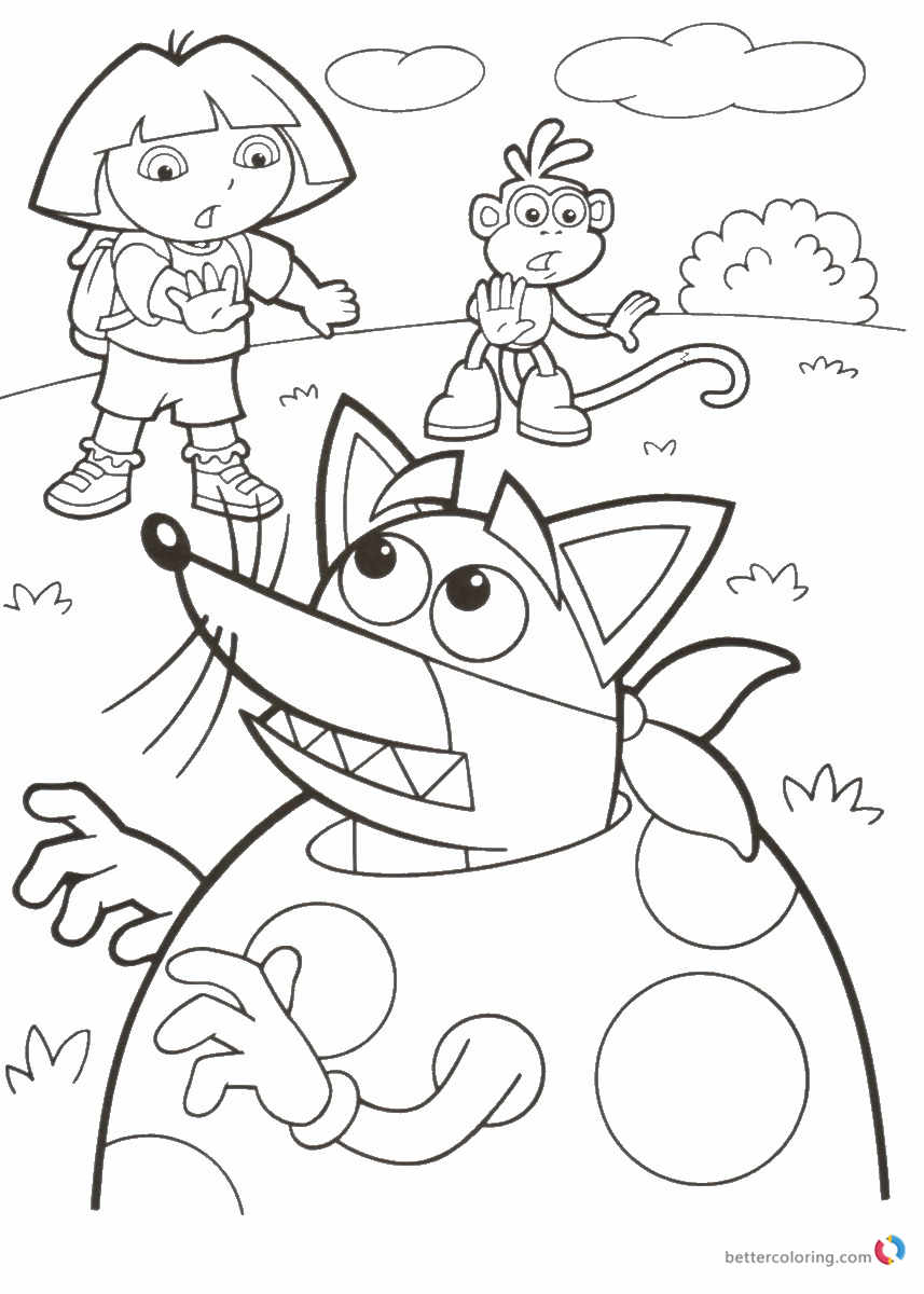 Dora the explorer coloring book free printable coloring for Dora printable coloring pages