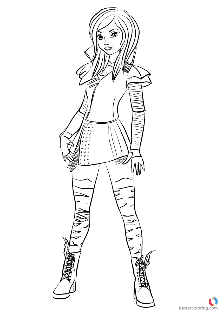 Mal from Descendants 2 Coloring Pages Printable for Kids ...