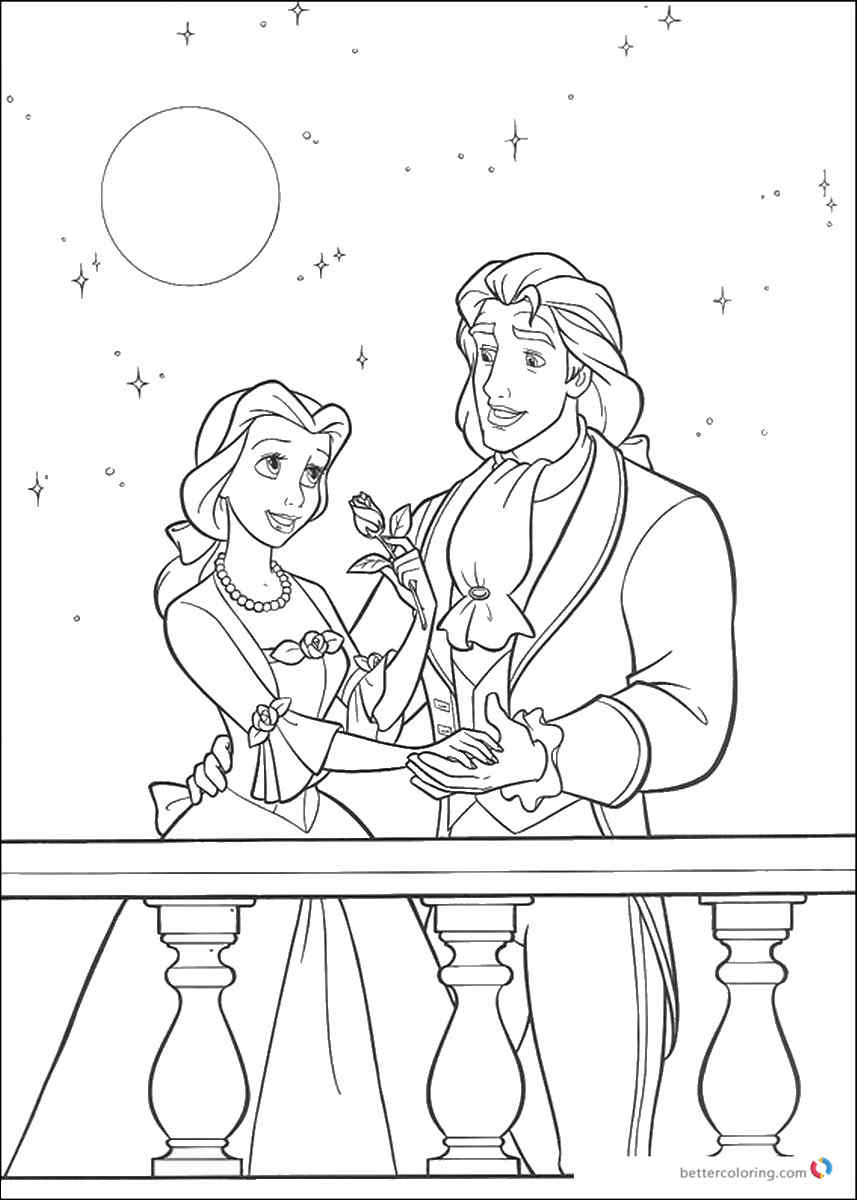 beauty and the beast characters coloring pages - beauty and the beast coloring pictures free printable