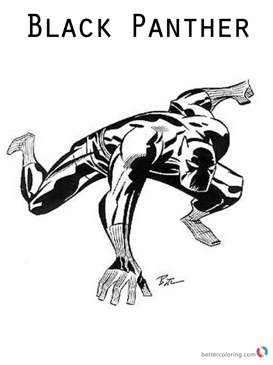 Black Panther Coloring Pages Marvel Superhero Ready to