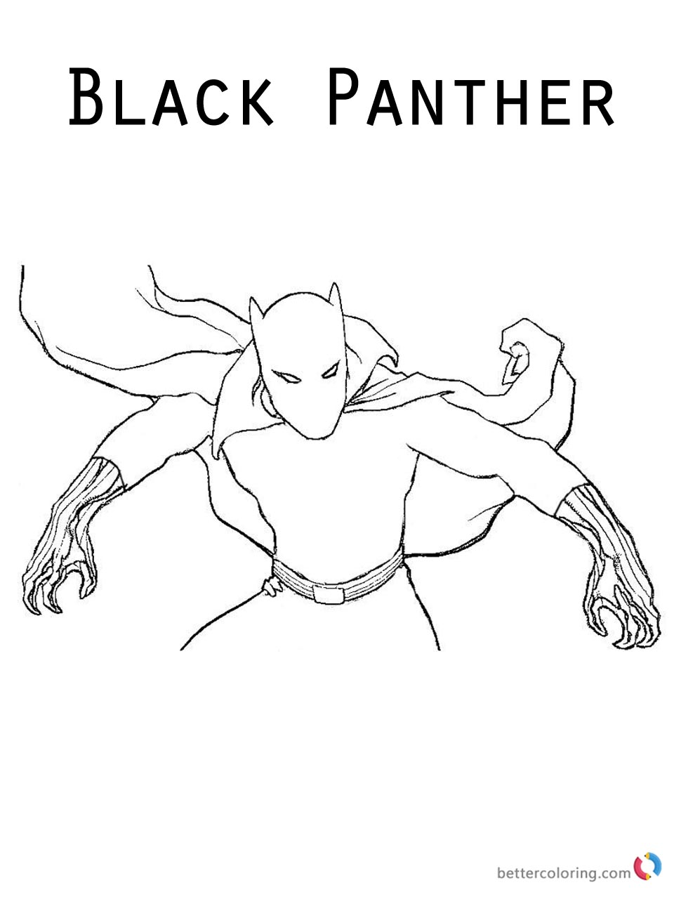 Cool Black Panther Coloring Pages Sketch of Marvel Moive Printable