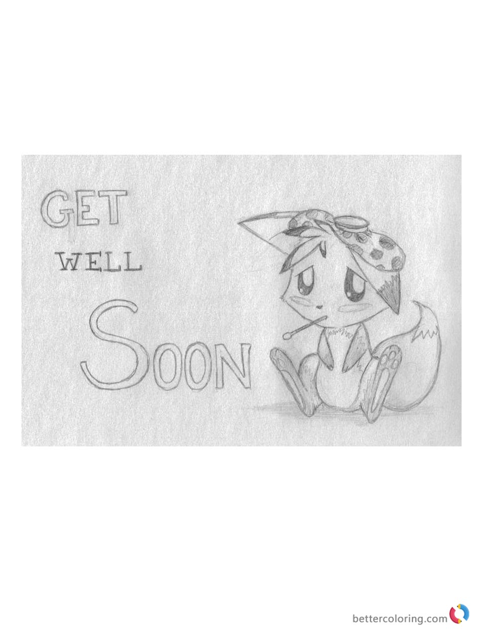 Get Well Soon Coloring Page Cute Animal Printable