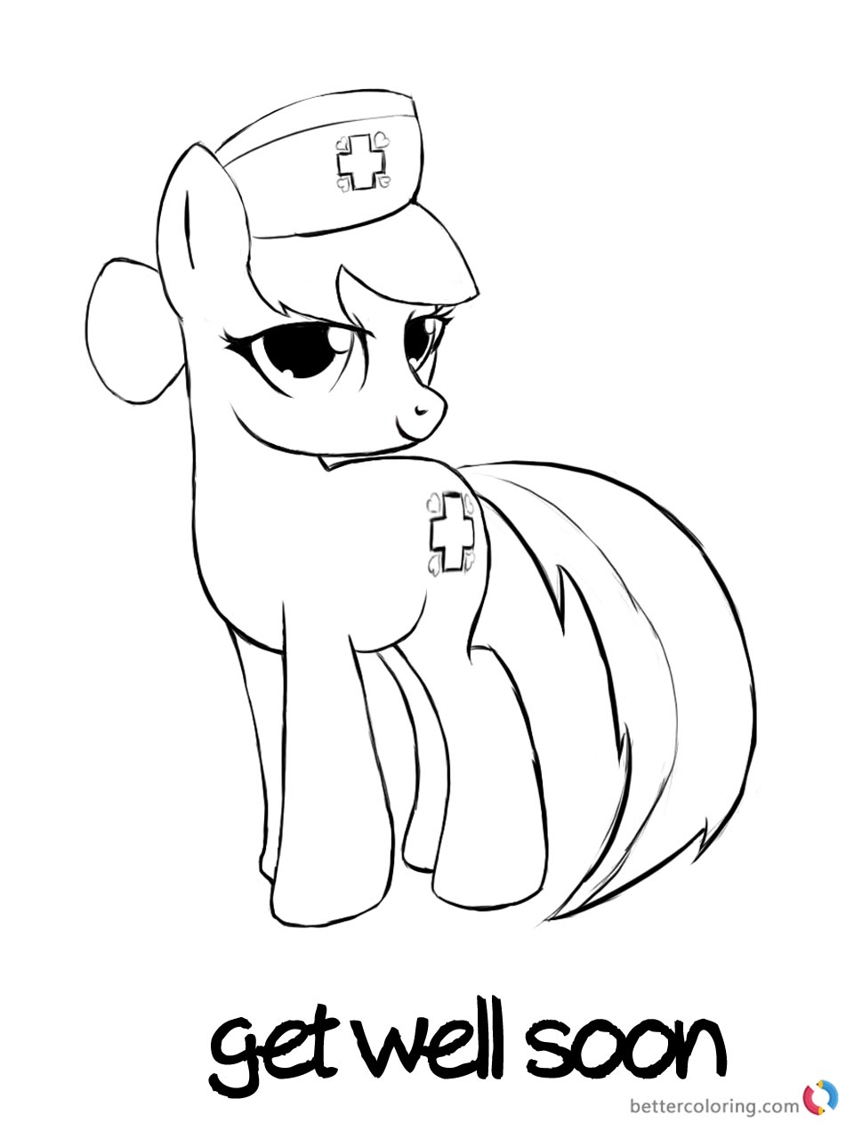 Get Well Soon Coloring Page Pony Doctor Printable
