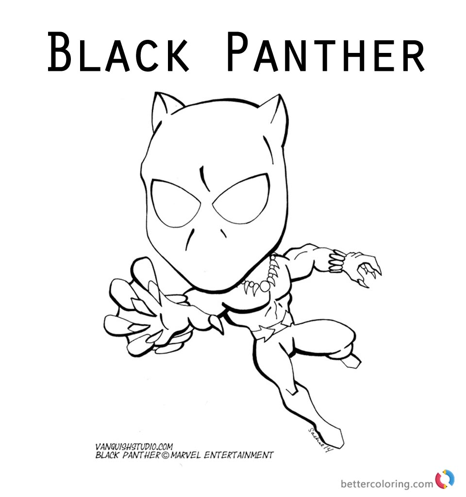 Printable Marvel Black Panther Coloring Pages Cartoon