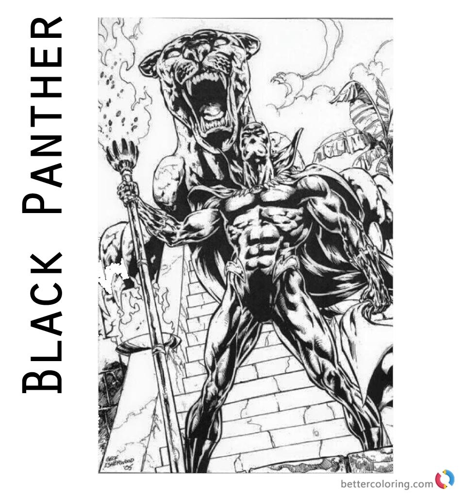 Printable Marvel Black Panther Coloring Pages with Realastic Panther