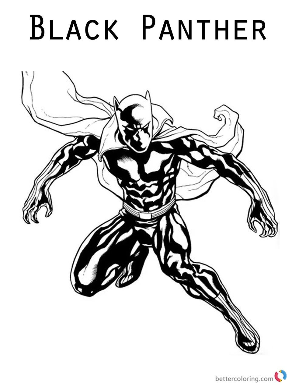 Movie Black Panther Coloring Pages Jumping to Fight