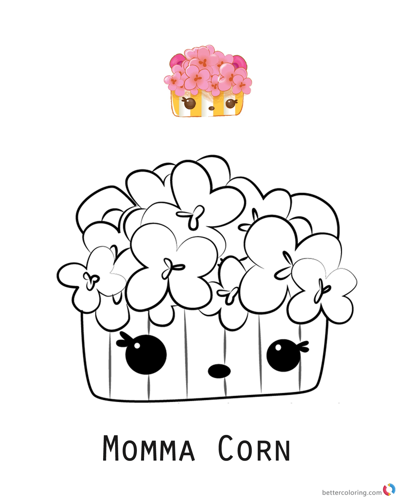 Momma Corn from Num Noms coloring pages printable