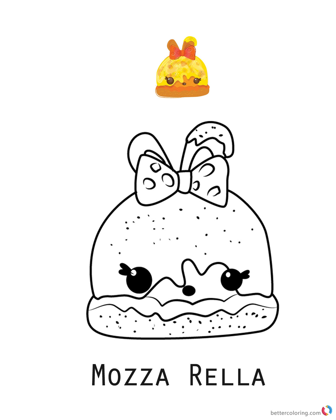Mozza Rella from Num Noms coloring pages printable