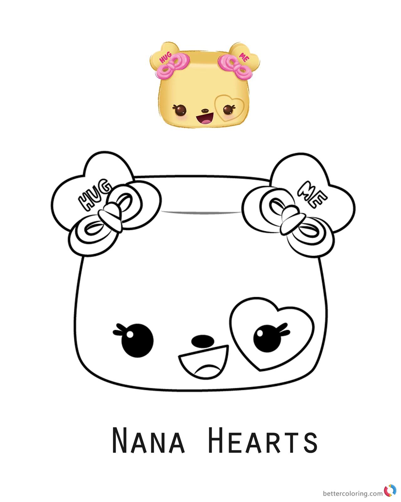 Num Noms Coloring Sheet Series 3 Nana Hearts Free Printable Coloring Pages