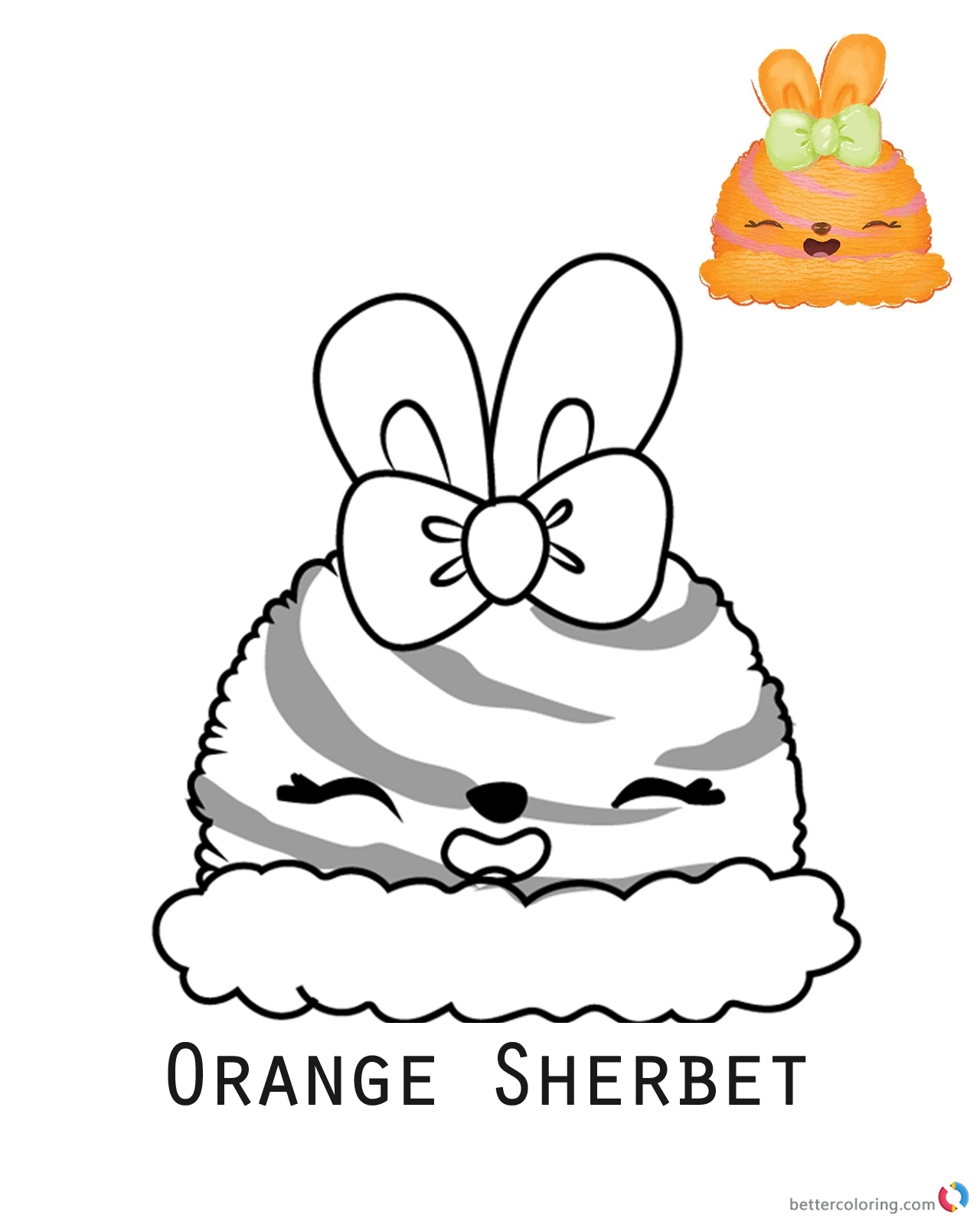 Orange Sherbet from Num Noms coloring pages printable