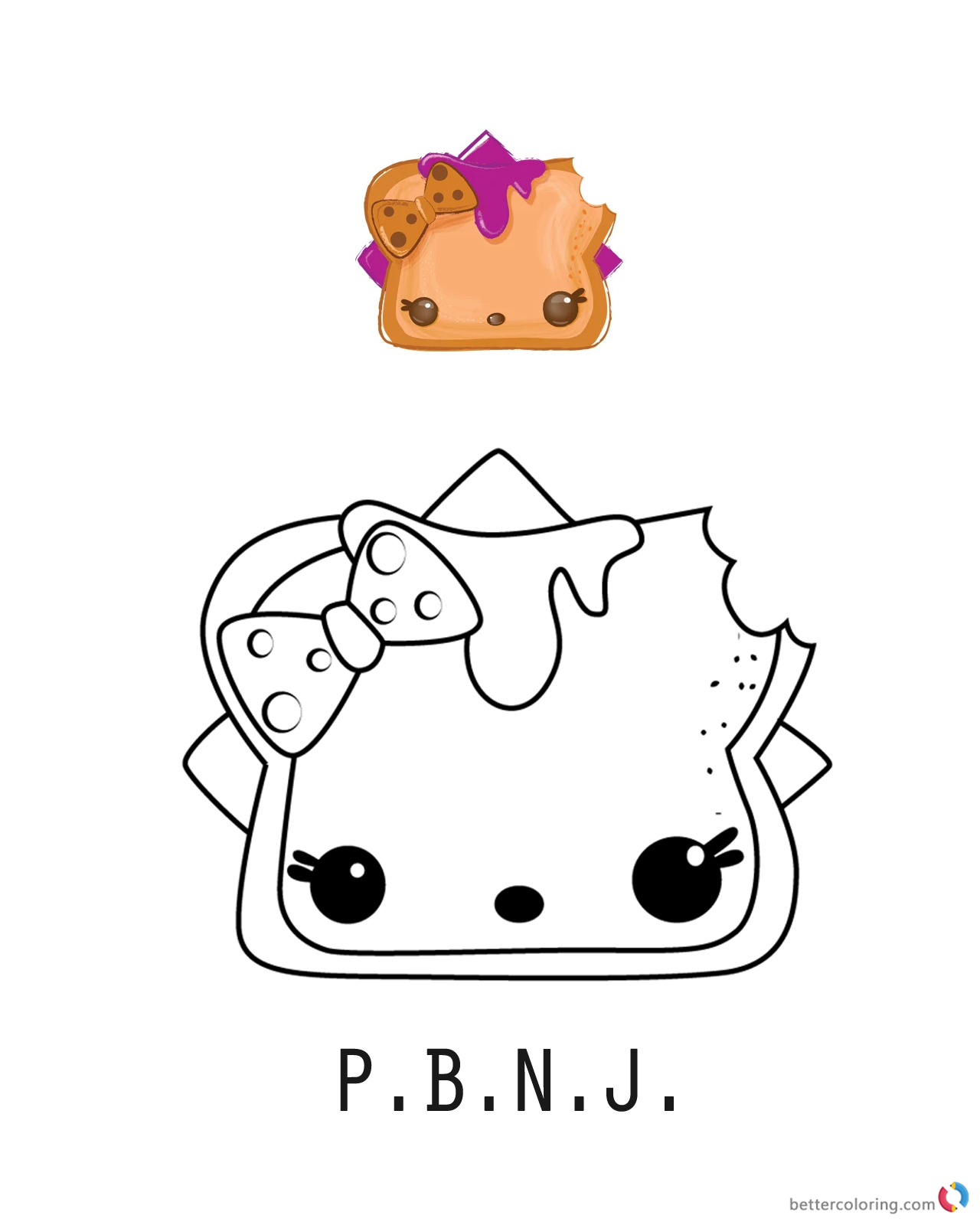 P.B.N.J. from Num Noms coloring pages printable