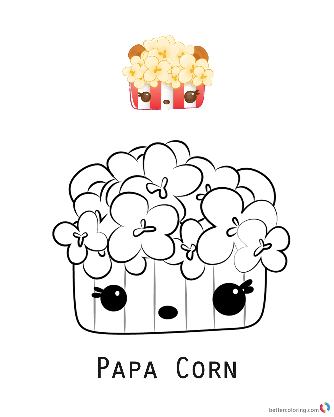 Papa Corn from Num Noms coloring pages printable