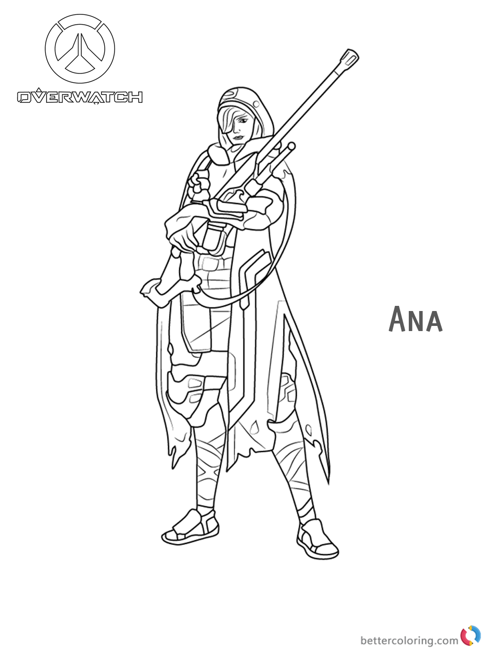 Ana from Overwatch Coloring Pages