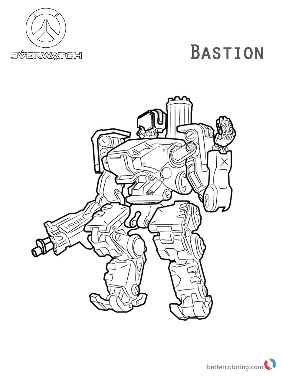 Bastion from Overwatch coloring pages printable