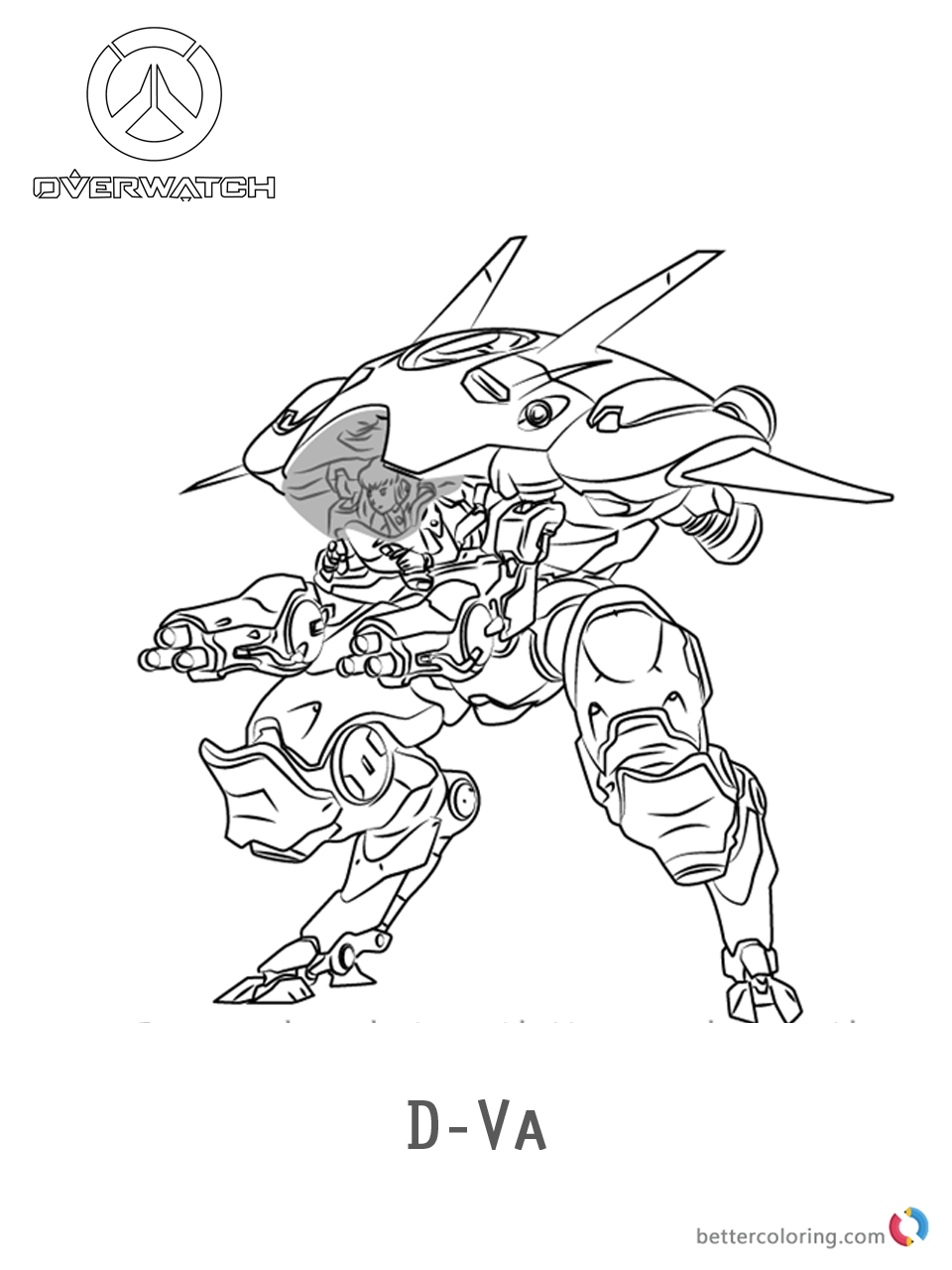 D.Va from Overwatch coloring pages printable