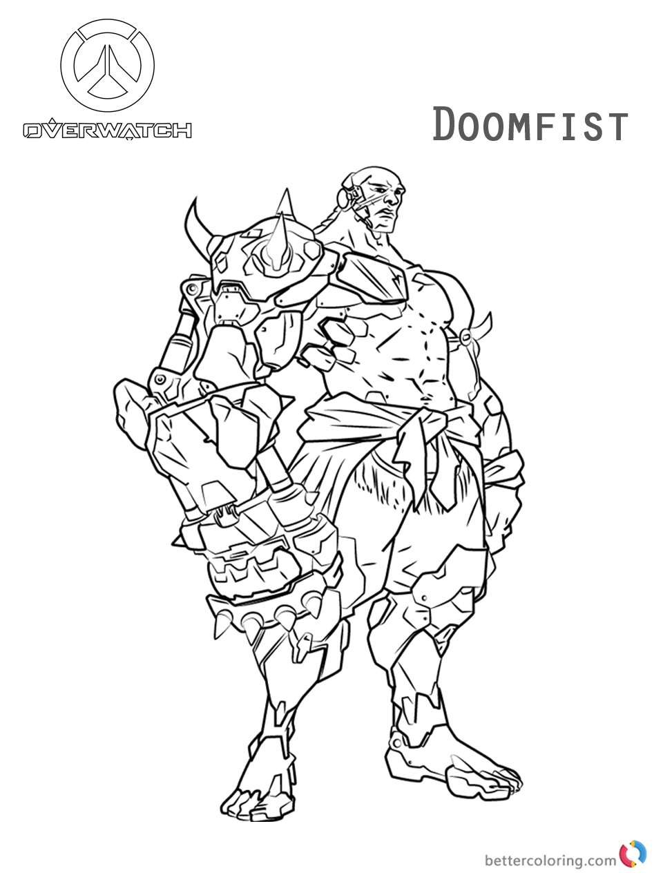 Doomfist From Overwatch Coloring Pages Free Printable