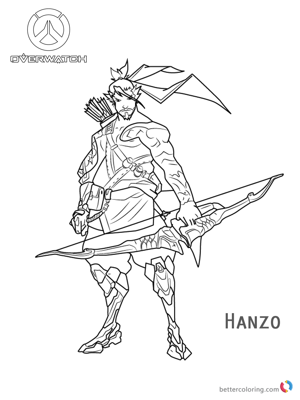 Hanzo from Overwatch coloring pages printable
