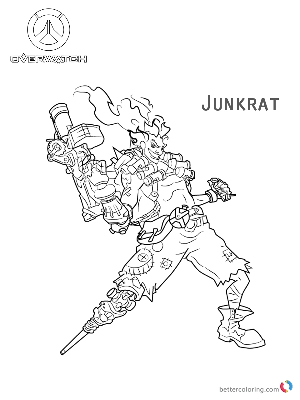 Junkrat from Overwatch coloring pages printable
