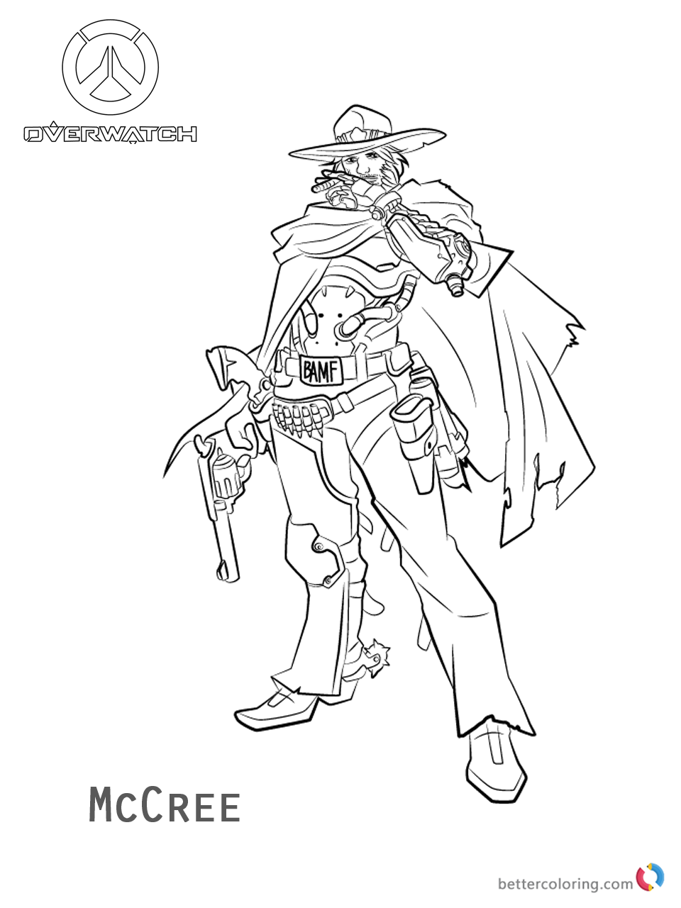 Mccree From Overwatch Coloring Pages Free Printable