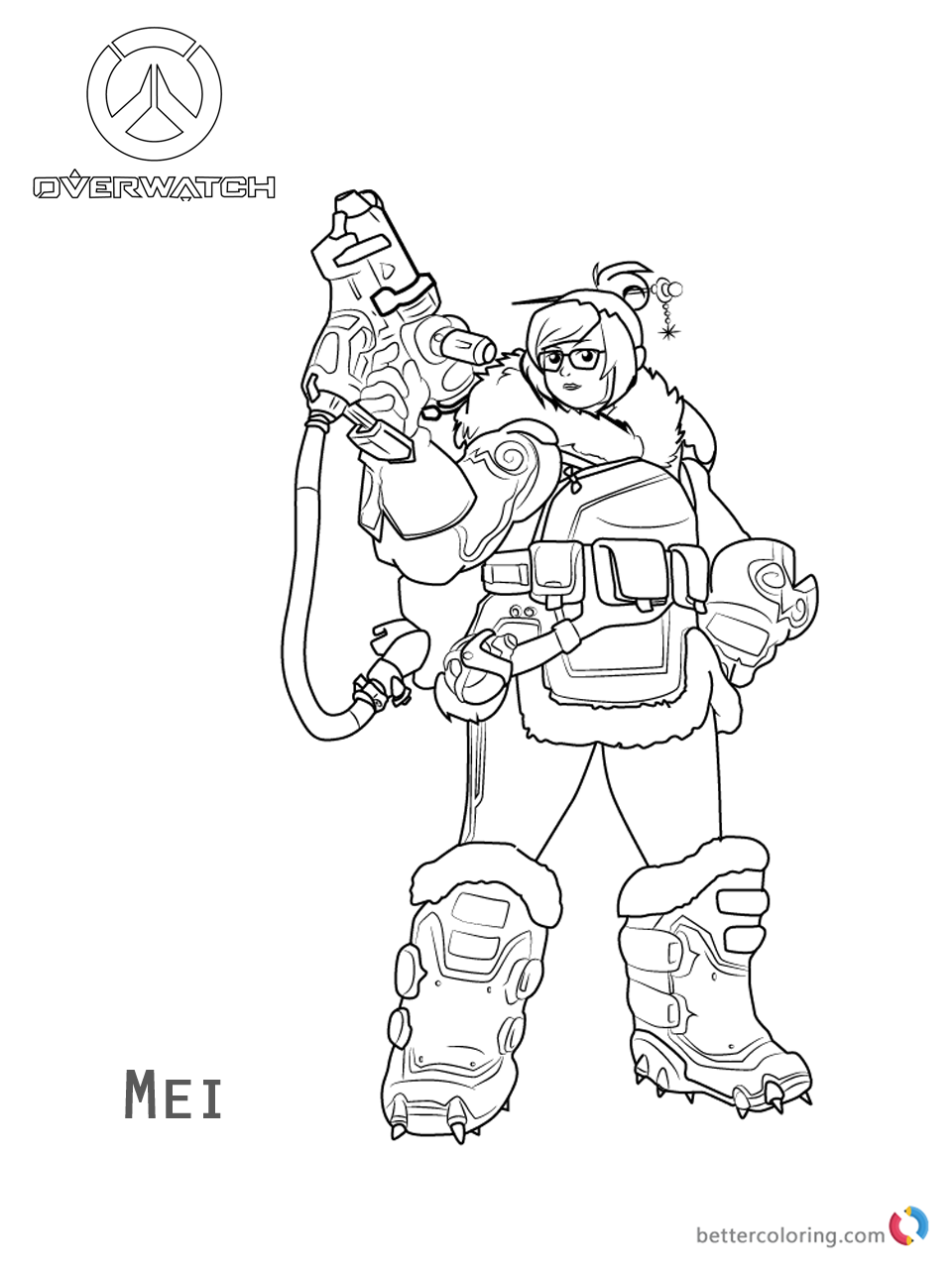 Mei from overwatch coloring pages free printable for Overwatch coloring pages