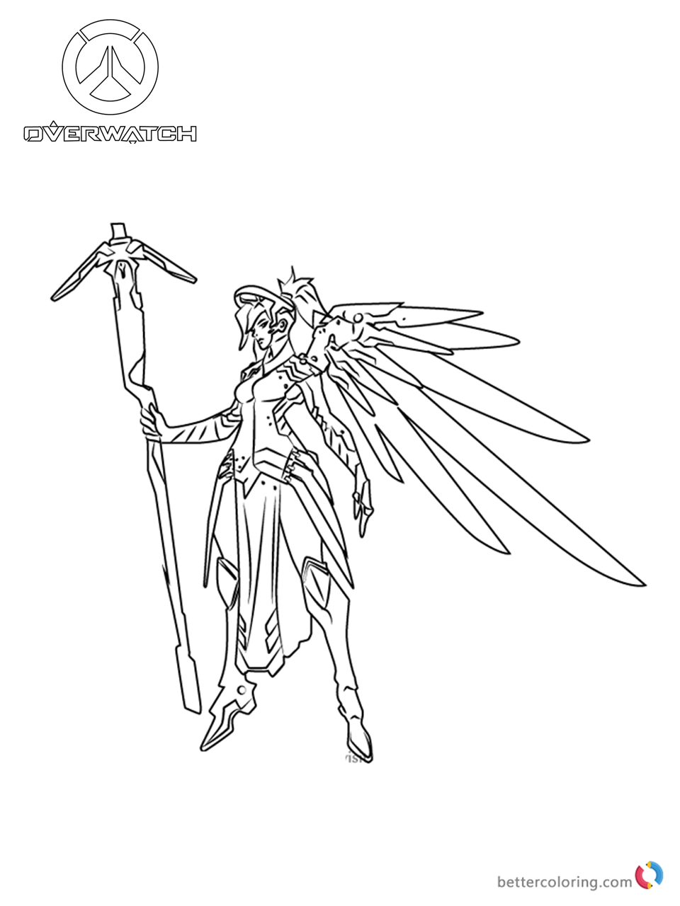 Mercy from Overwatch coloring pages printable