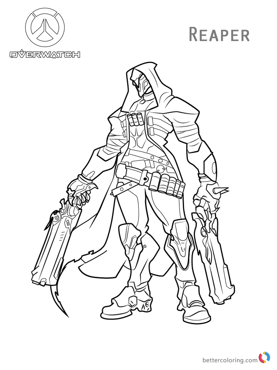 Reaper from overwatch coloring pages free printable for Overwatch coloring pages