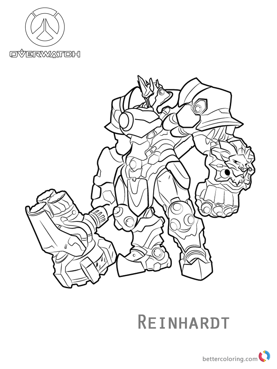 Reinhardt from overwatch coloring pages free printable for Overwatch coloring pages