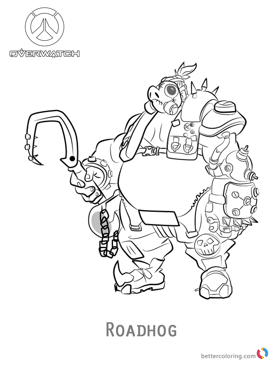 Roadhog from Overwatch coloring pages printable