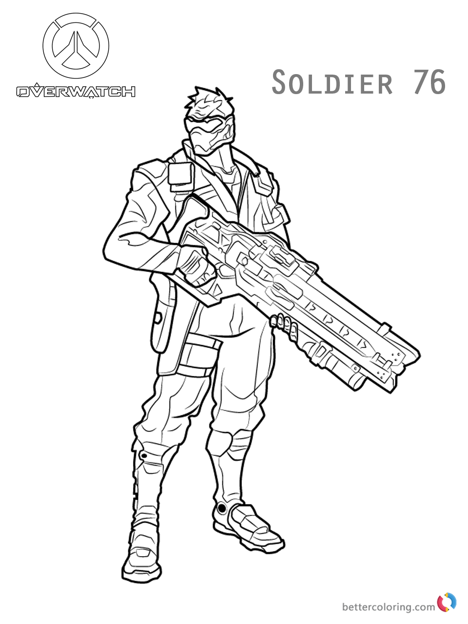 Soldier 76 from Overwatch Coloring Pages - Free Printable Coloring Pages