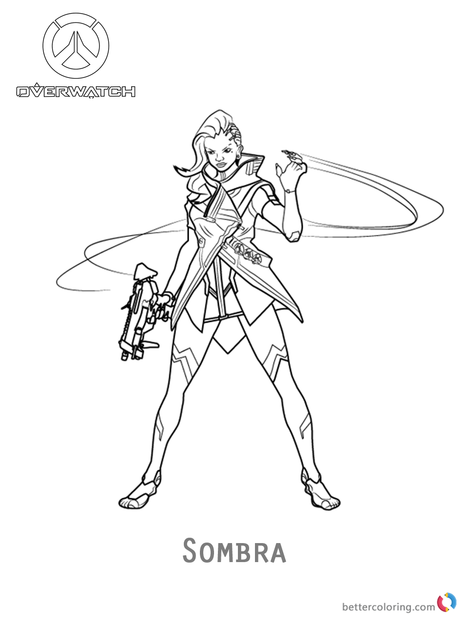 Sombra from Overwatch coloring pages printable