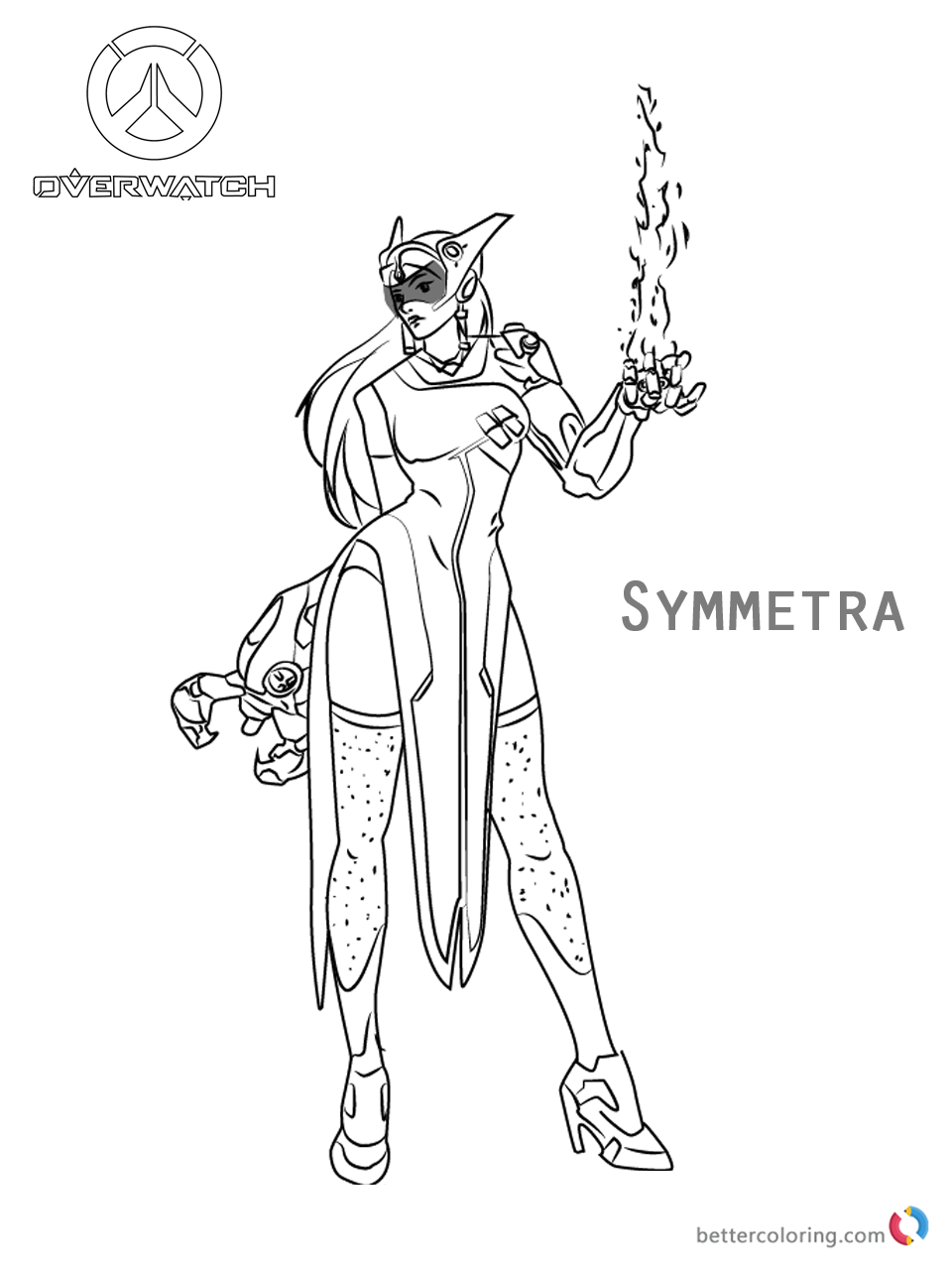 Symmetra from Overwatch coloring pages printable
