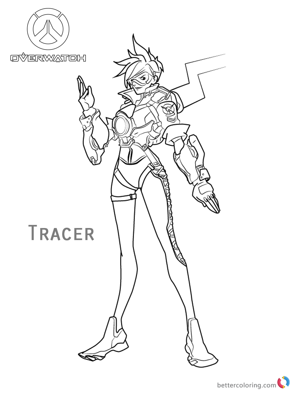 Tracer from Overwatch coloring pages printable