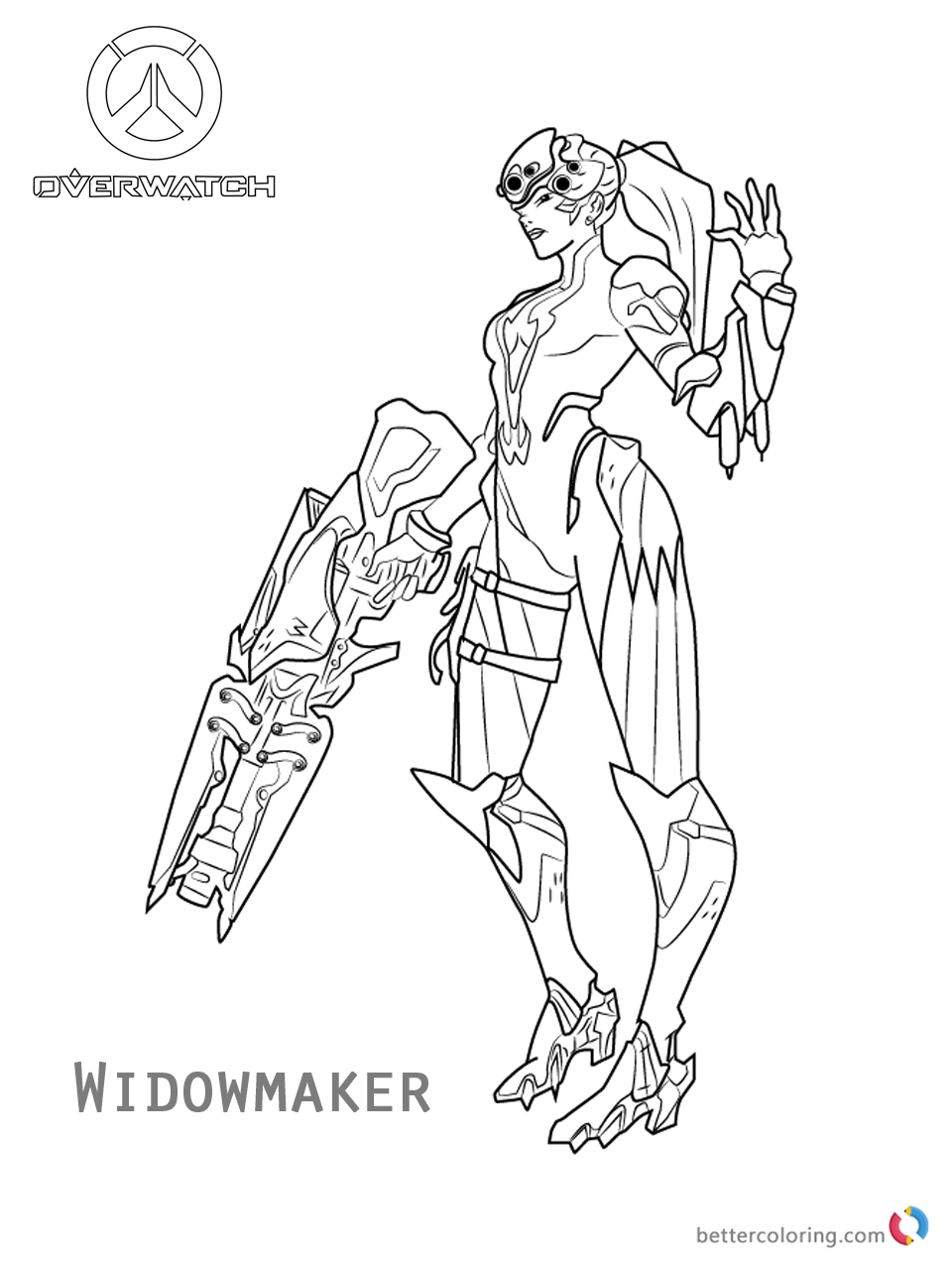 Widowmaker from Overwatch Coloring Pages Free Printable