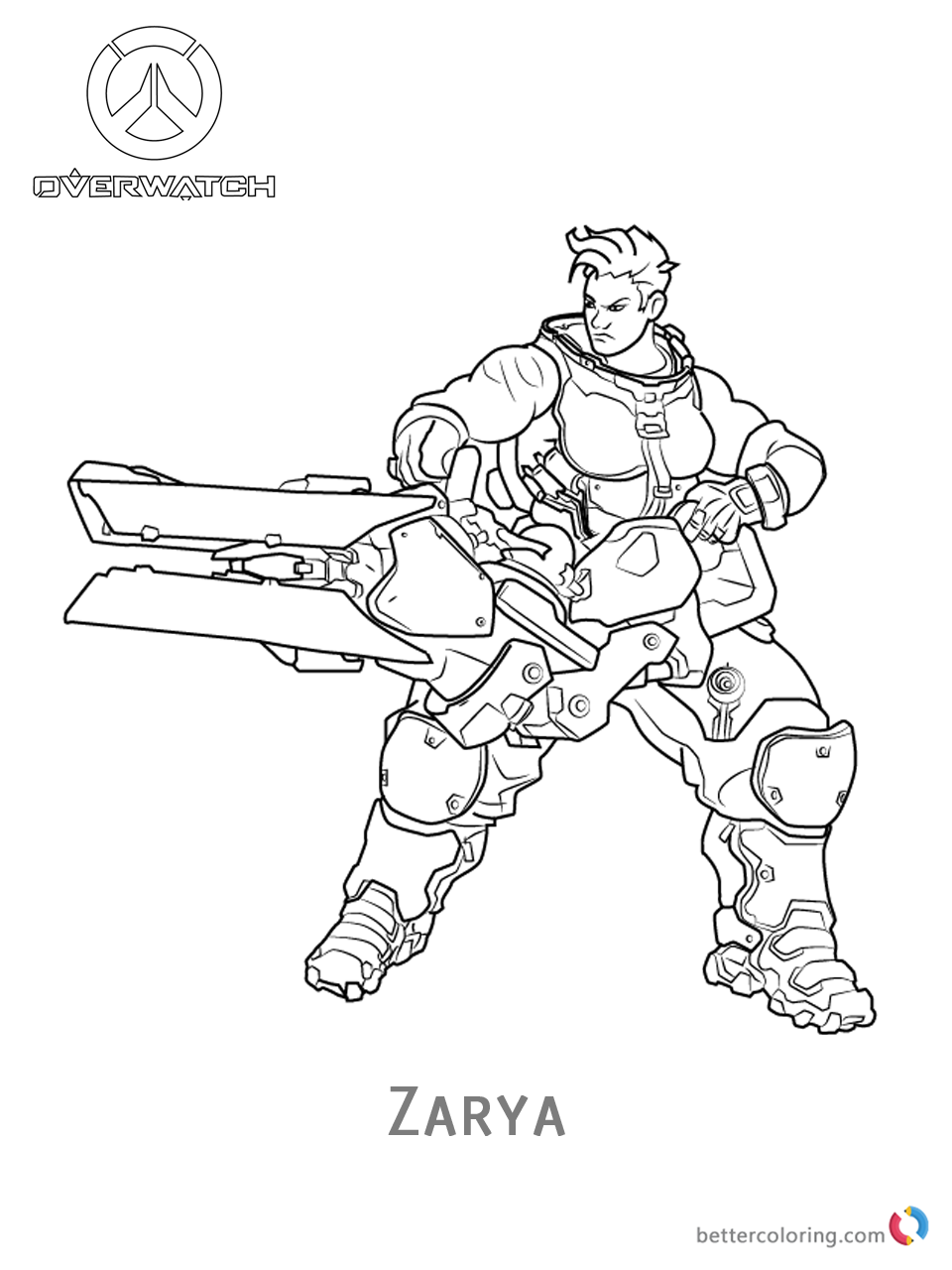 Zarya From Overwatch Coloring Pages Free Printable
