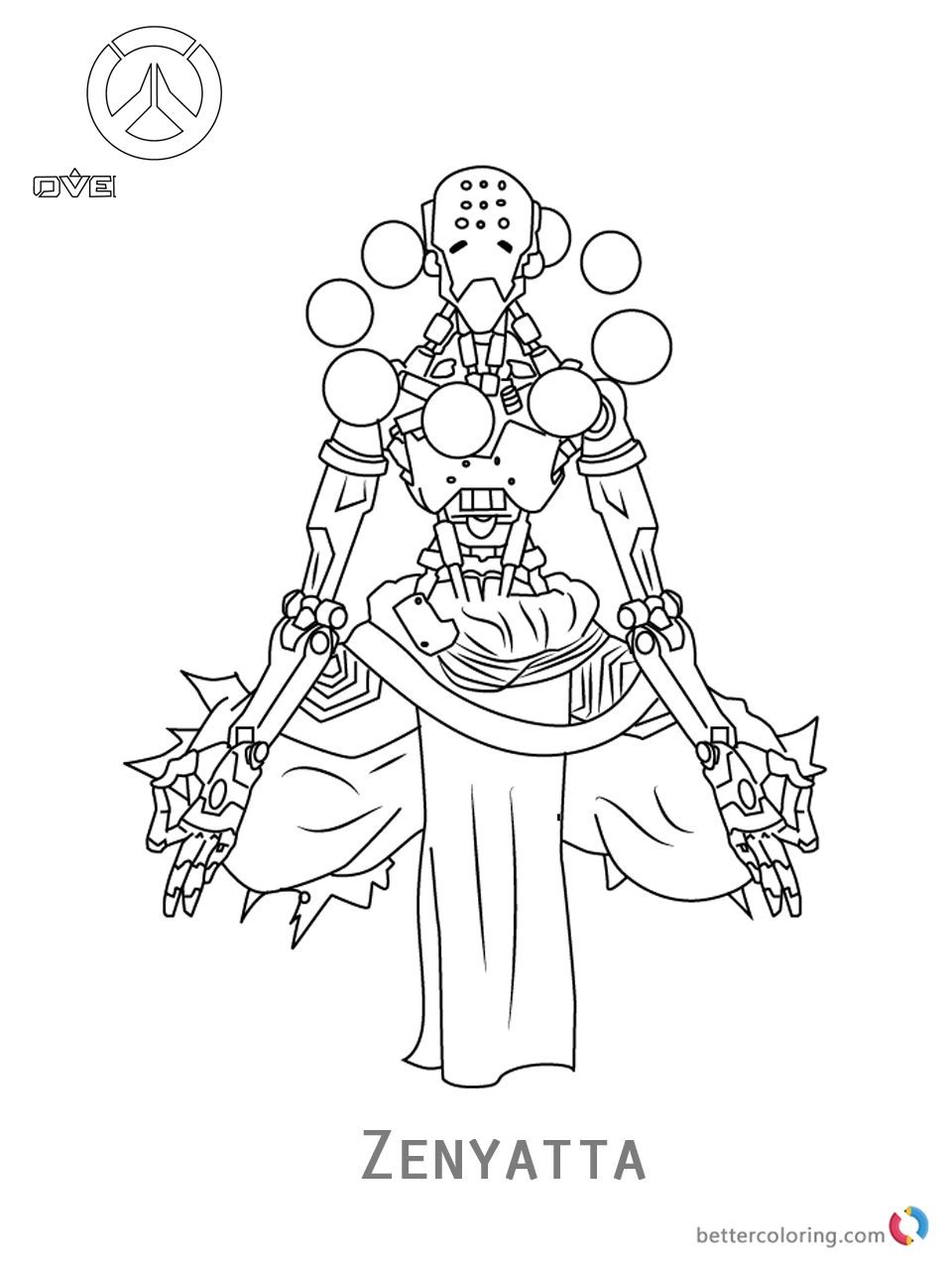Zenyatta from Overwatch coloring pages printable
