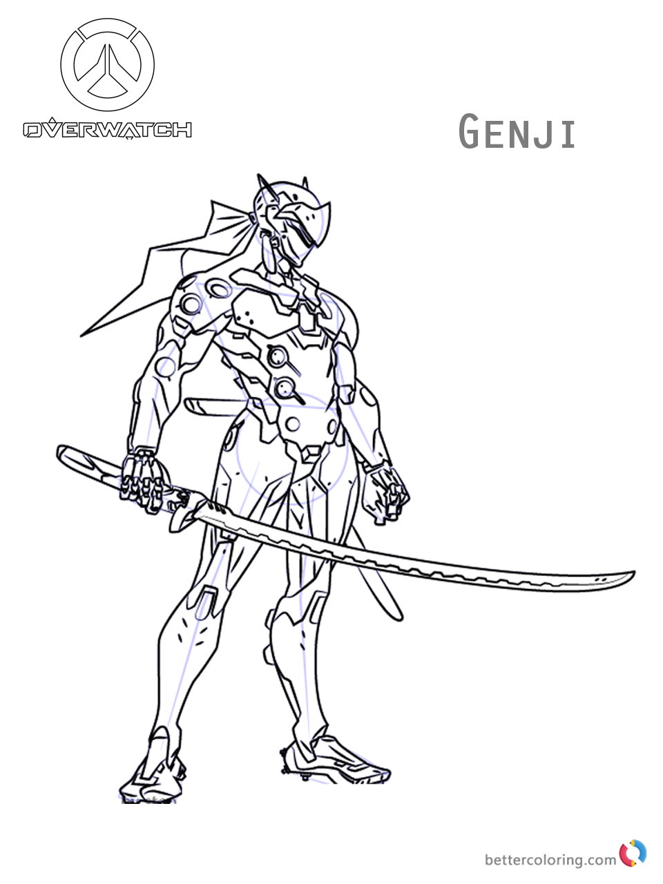 Genji from overwatch coloring pages free printable for Overwatch coloring pages
