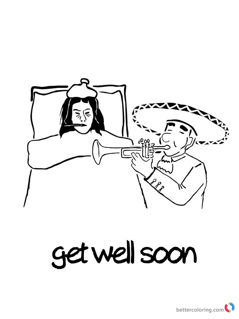 Get Well Soon Coloring Page Play Music for Patient Printable