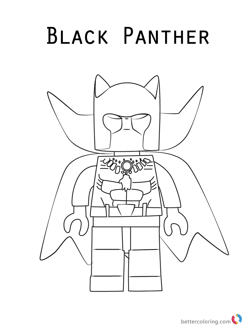 Lego Marvel Coloring Pages To Download And Print For Free: Black Panther LEGO Coloring Pages