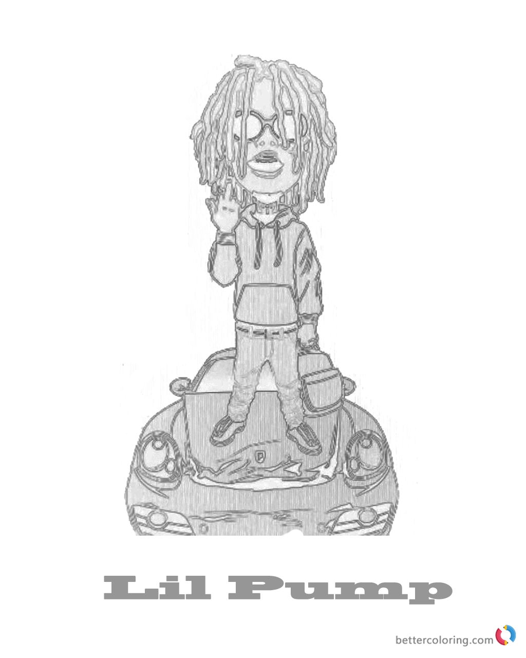 Hand Drawing Lil Pump Coloring Page Printable