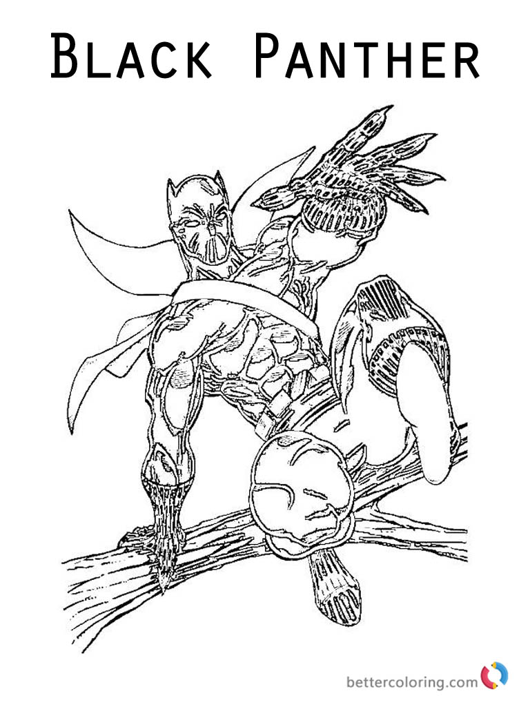 Black Panther from Marvel movie Coloring Pages Free