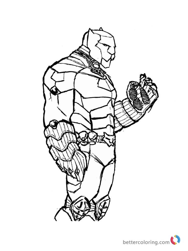Superhero Thanos Coloring Pages: Black Panther Coloring Pages Superhero Of Marvel