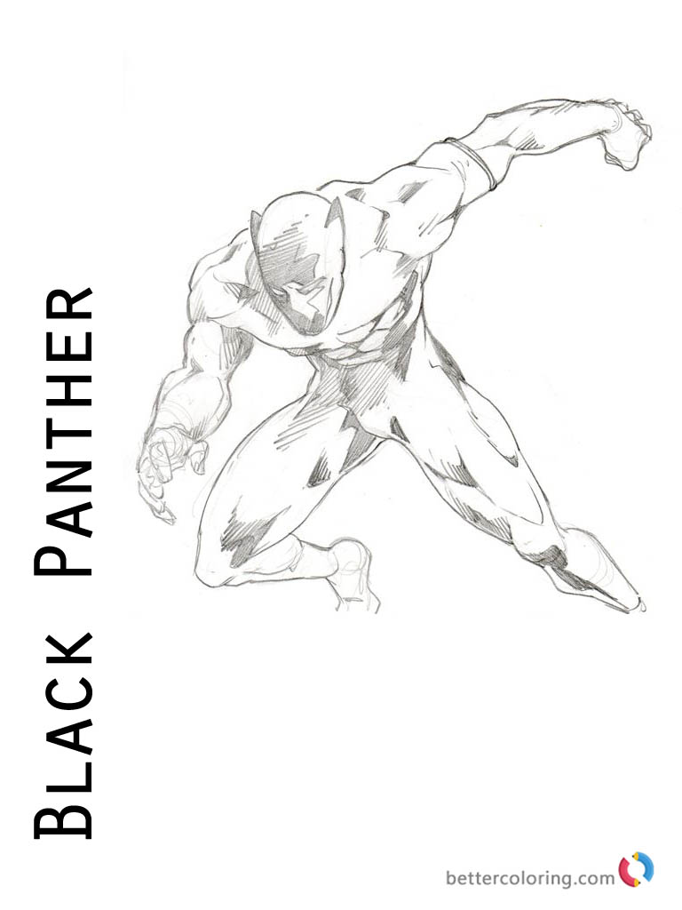 black panther movie coloring page printable