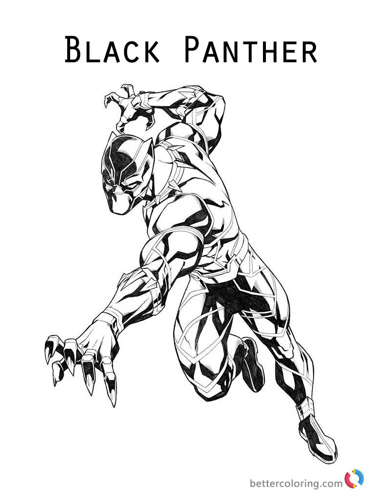 Marvel superhero Black Panther Coloring Page Printable