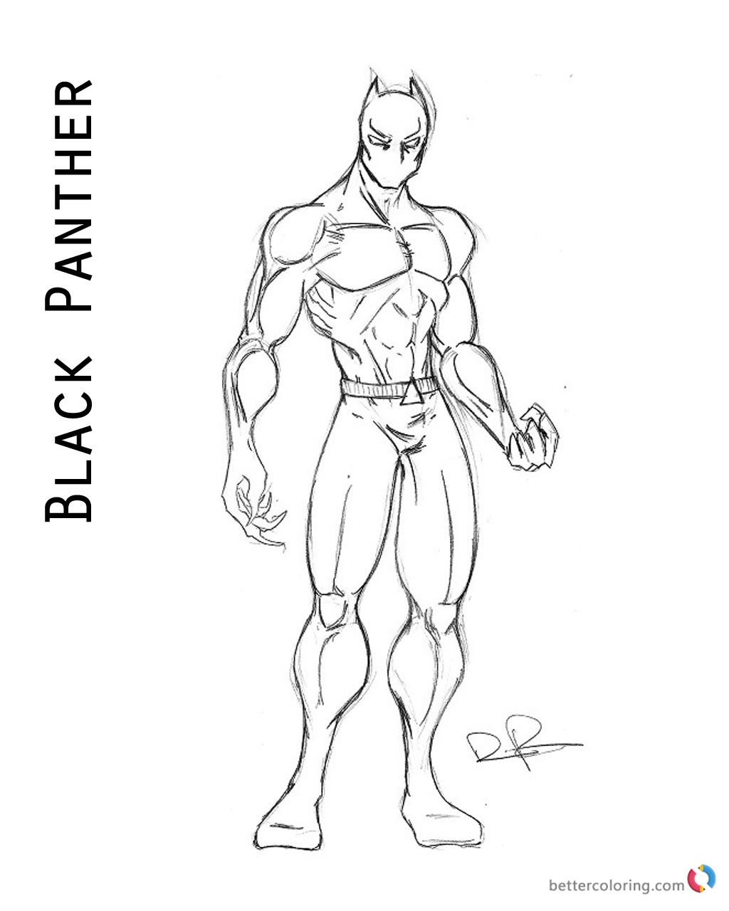 Superhero Thanos Coloring Pages: Superhero Black Panther Coloring Page