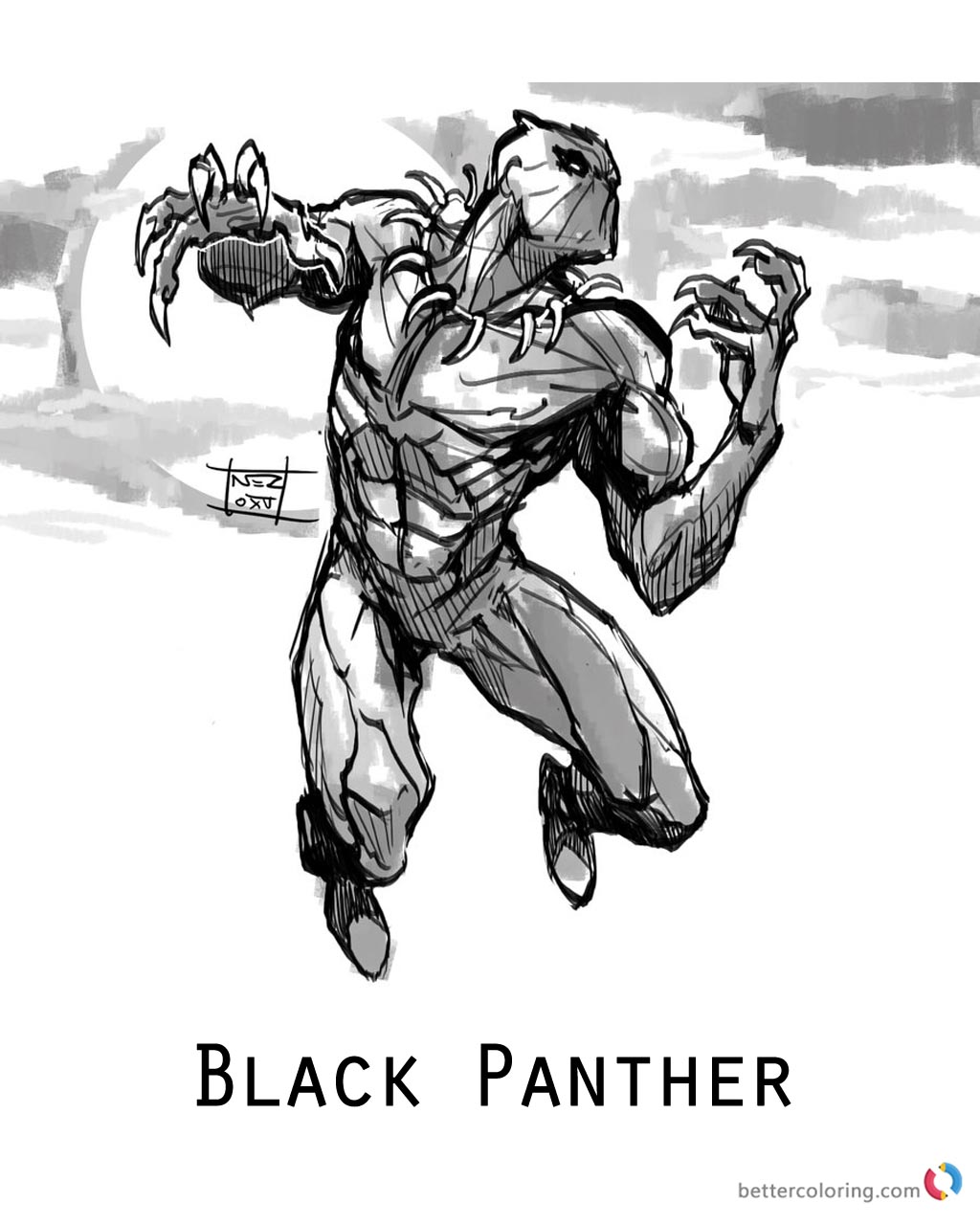 Marvel Black Panther Coloring Page Printable