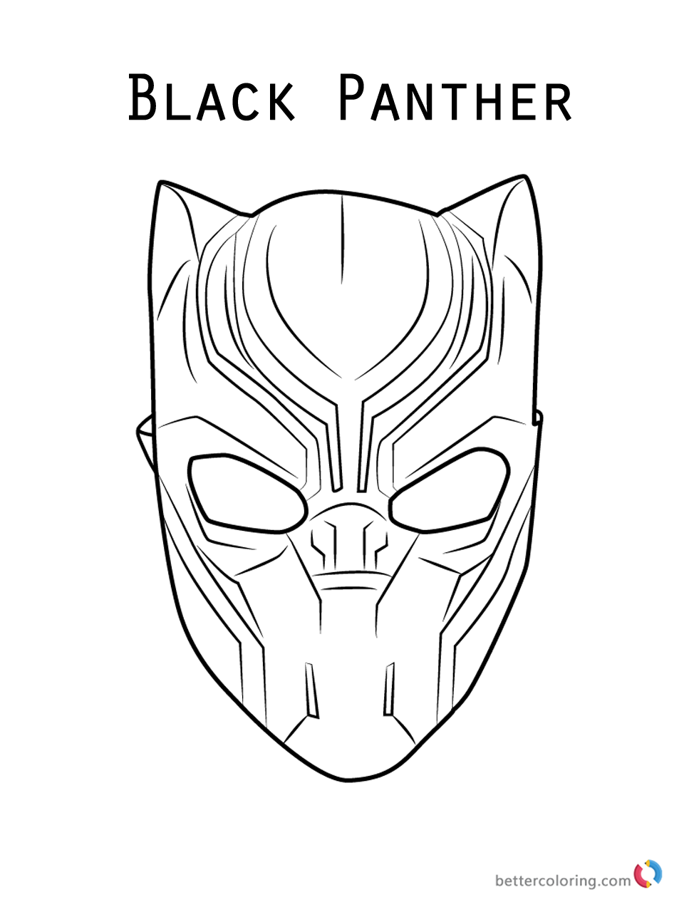 Black Panther Mask Coloring Page Free Printable Coloring