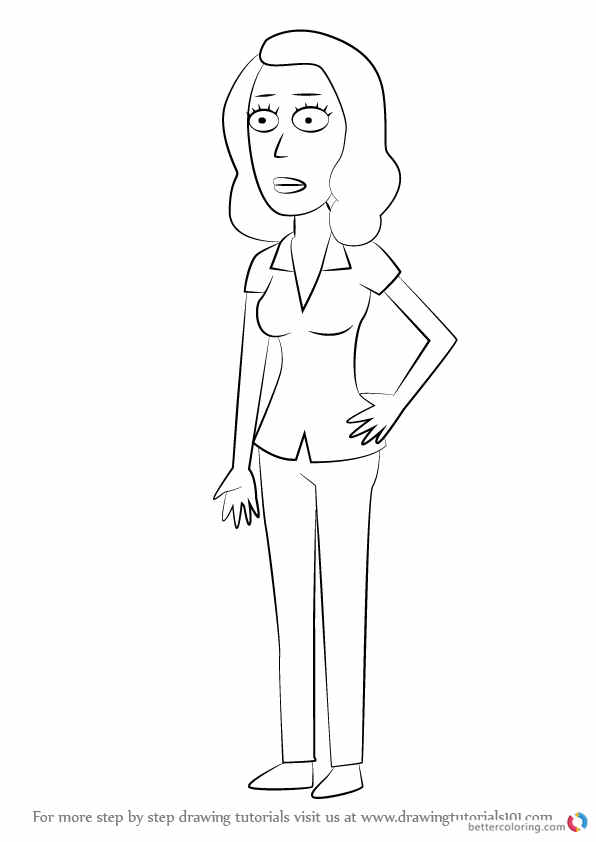 Learn How To Draw Beth Smith From Rick And Morty Rick And Coloring Page Printable