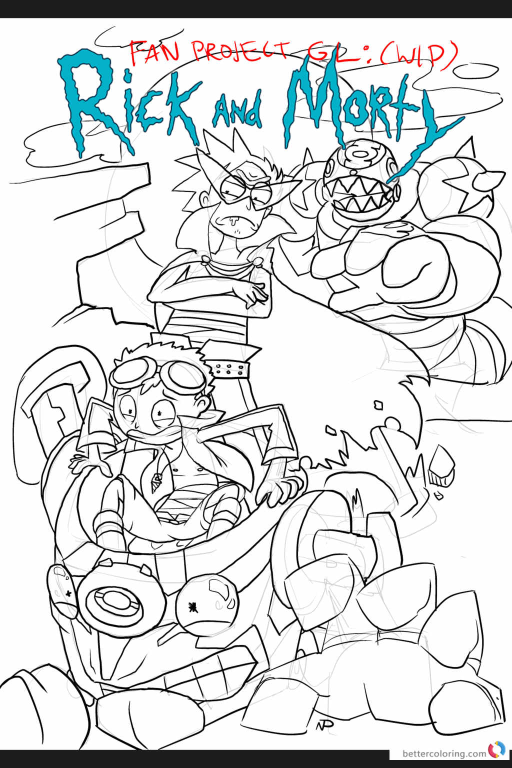 Rick And Morty Coloring Pages of Fan art By NPOLO Printable