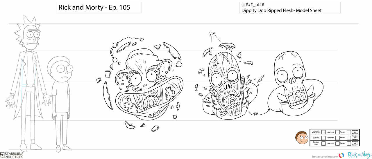 Sketch of Rick And Morty Coloring Pages Free Printable